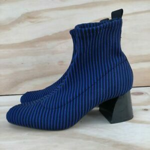 NWT Zara black & blue striped booties!!